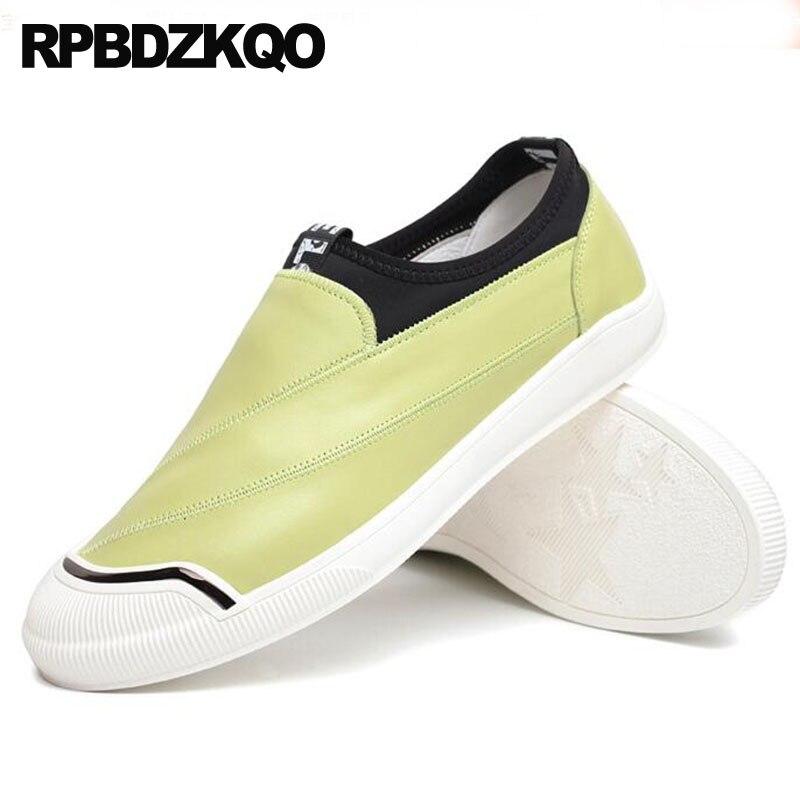 19fa19ccd35b5 Verano de alta calidad de lujo moda hombres zapatos estilo británico pista  verde rojo conducción cuero Real azul vaca marca naranja negro en Calzado  casual ...