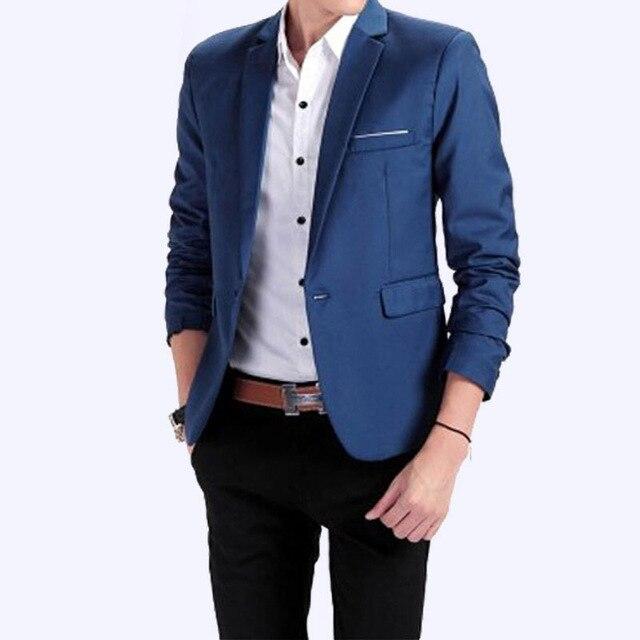e7aea973366 Korean Style Slim Blazer Men Suit Plus Size One Button Fashion Handsome Men  Casual Coat Business Mens Brand Blazer Jacket