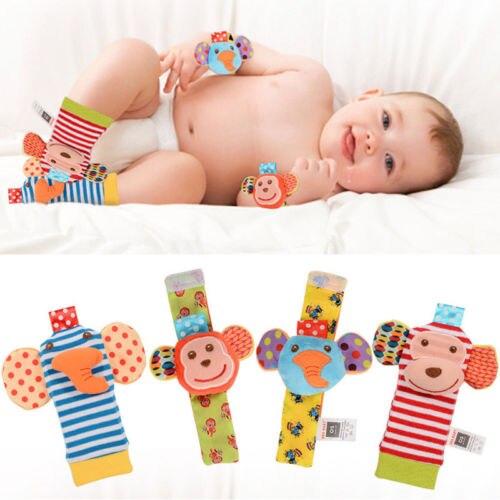 2018 Neue Nette Baby Tier Plüsch Socken Infant Developmental Weiche Baumwolle Handgelenk Finder Fuß Socken Rasseln Spielzeug Set 4 Stücke