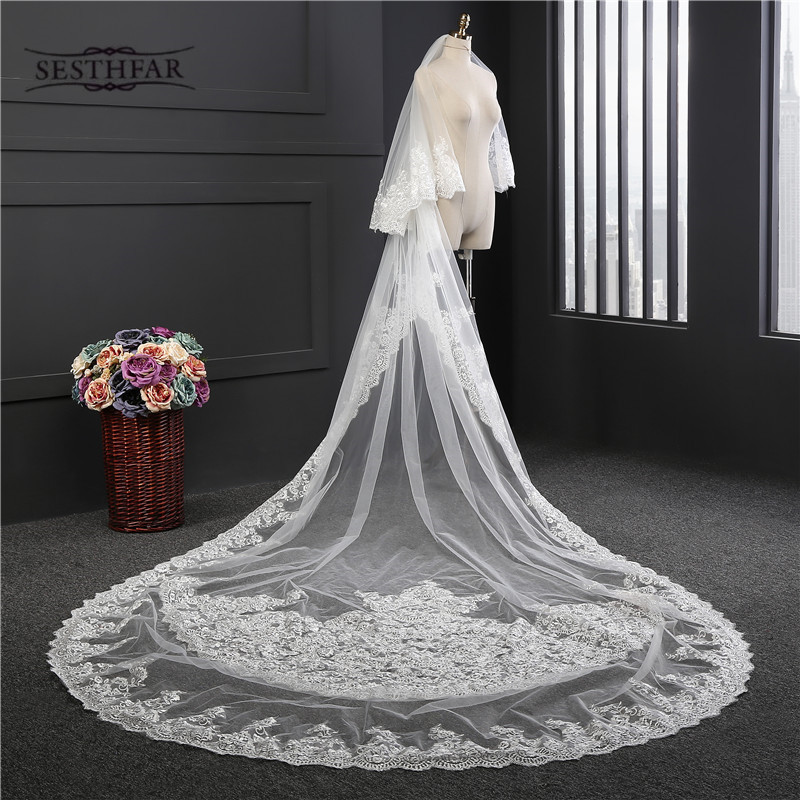 New Luxury Bridal Veils 3 5 Meters Long Lace Edge 2T Appliques Covered Face Layer Rounded