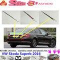 Высокое качество для VW Skoda Superb 2016 автомобилей палочки-автомобилей шейпингом из нержавеющей стали задняя дверь задняя дверь рамка отделка лампы 1 шт.