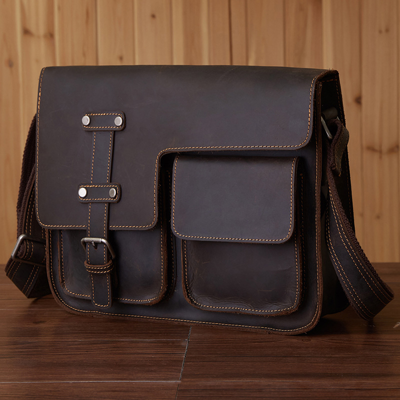 все цены на 30x25CM Retro Fashion Casual Men' S Shoulders Messenger Leather Leather Bag A4240