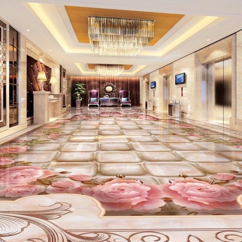 Free Shipping custom 3D Marble water knife stone pattern floor painting living room hotel self-adhesive floor wallpaper