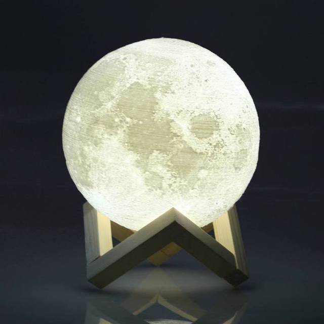 New Rechargeable LED Night Light Moon Lamp 3D Print Moonlight Luna Bedroom Home Decor Touch Switch New Year Gift For Baby