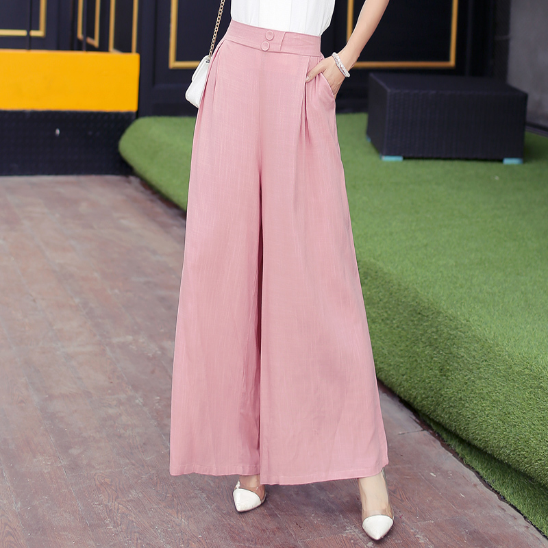 Wide     leg     pants   cotton and linen   pants   spring and autumn high waist linen   pants   loose nine points   wide   casual   pants   thin section