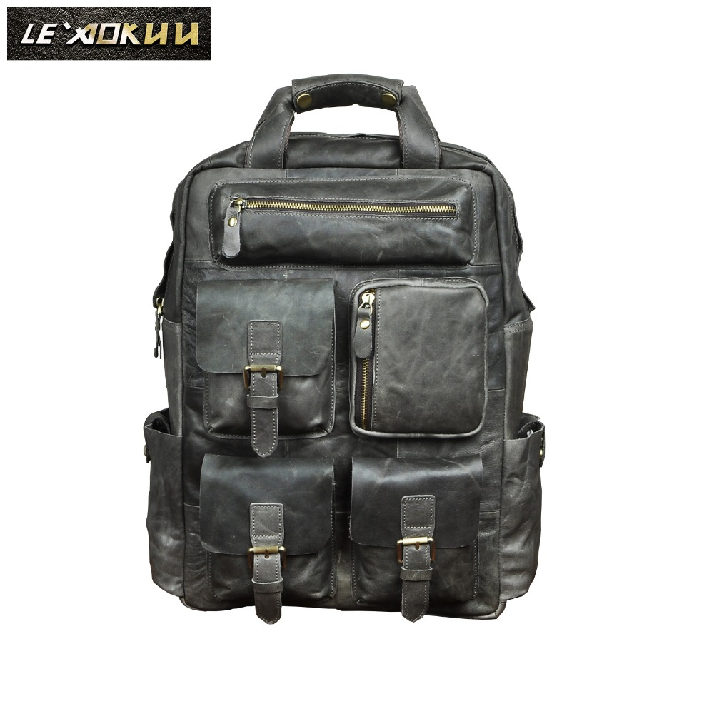 Quality Leather Heavy Duty Design Men Travel Casual Backpack Daypack Fashion Knapsack College School Book Laptop Bag Male 1170g genuine leather heavy duty design men travel casual backpack daypack fashion knapsack college school book laptop bag male 1170c
