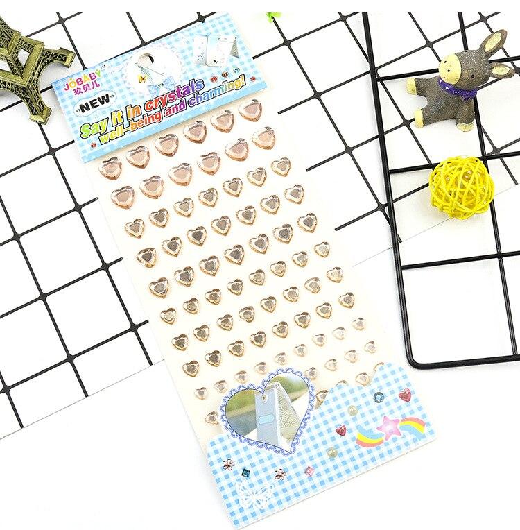 Детские игрушки наклейка в форме сердца DIY Наклейка мобильного искусства Кристалл бриллиант Стразы самоклеющиеся Скрапбукинг Стикеры s GYH - Цвет: Champagne