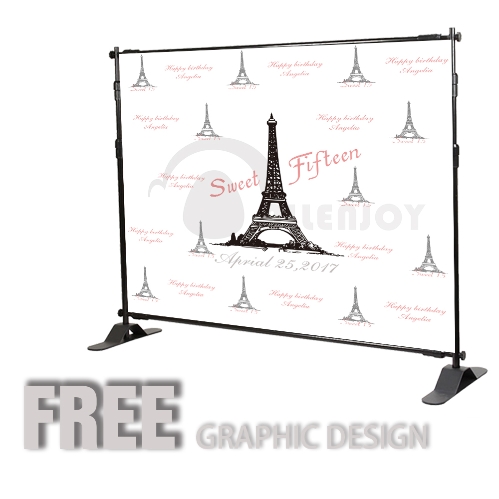 Allenjoy Girls Birthday backdrops Step and Repeat Background Eiffel ...