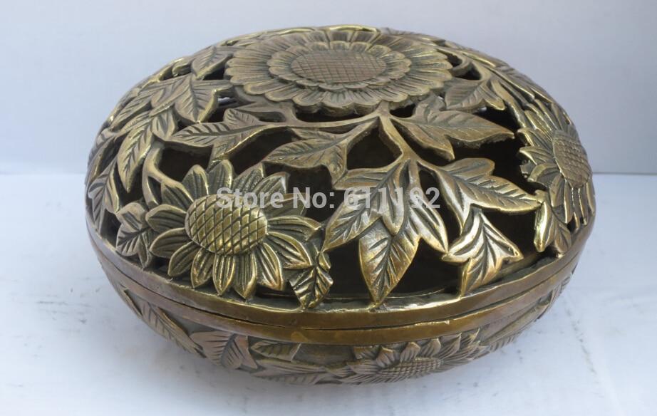 Chinese hand carved Sunflower antique Incense burner Ming Dynasty copper Censer Metal crafts|craft brass|craft studios|craft bell - title=