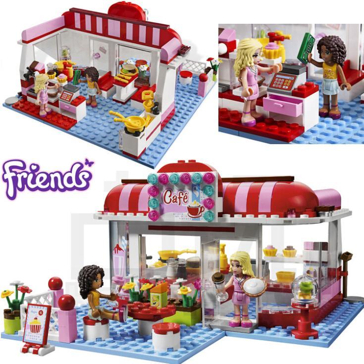 221+pcs Girls Friends Set Series City Park Cafe Building
