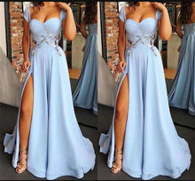 A Line Straps Long Prom Dresses Formal Party Evening Gowns Elegant Cap Sleeves Split