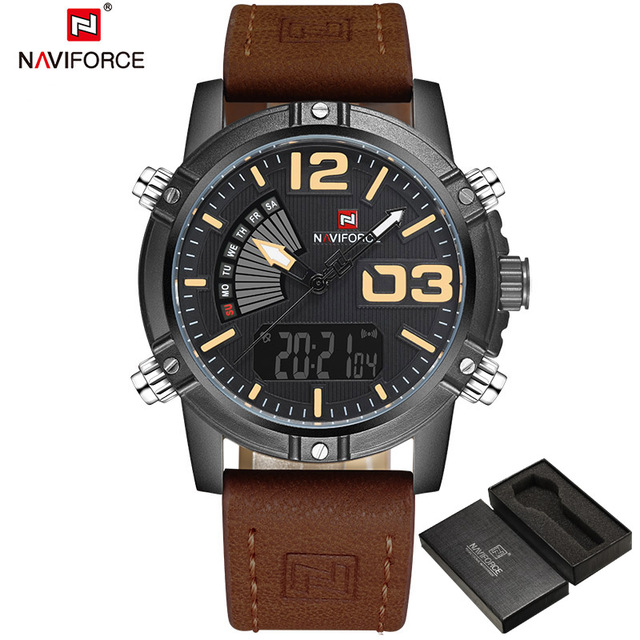 2018 NAVIFORCE Mens Fashion Sport Watches Men Quartz Analog Date Clock Man Leather Military Waterproof Watch Relogio Masculino