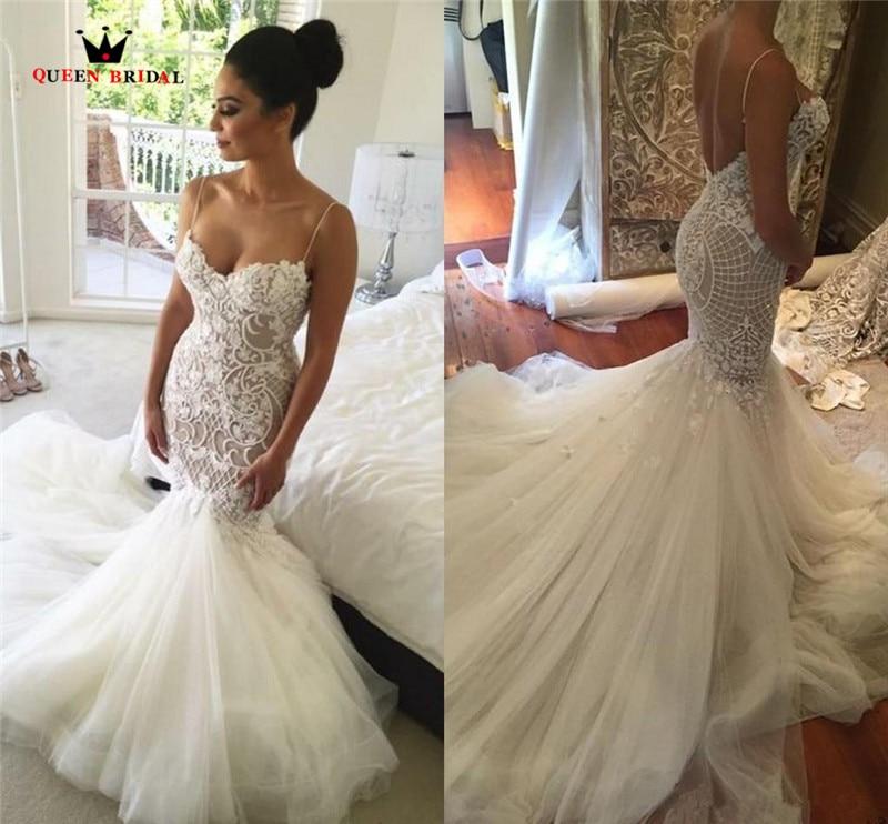 Robe De Mariee QUEEN BRIDAL 2019 Sexy Mermaid Backless Wedding Dress Vestidos De Novias Custom Made Wedding Gown HC87