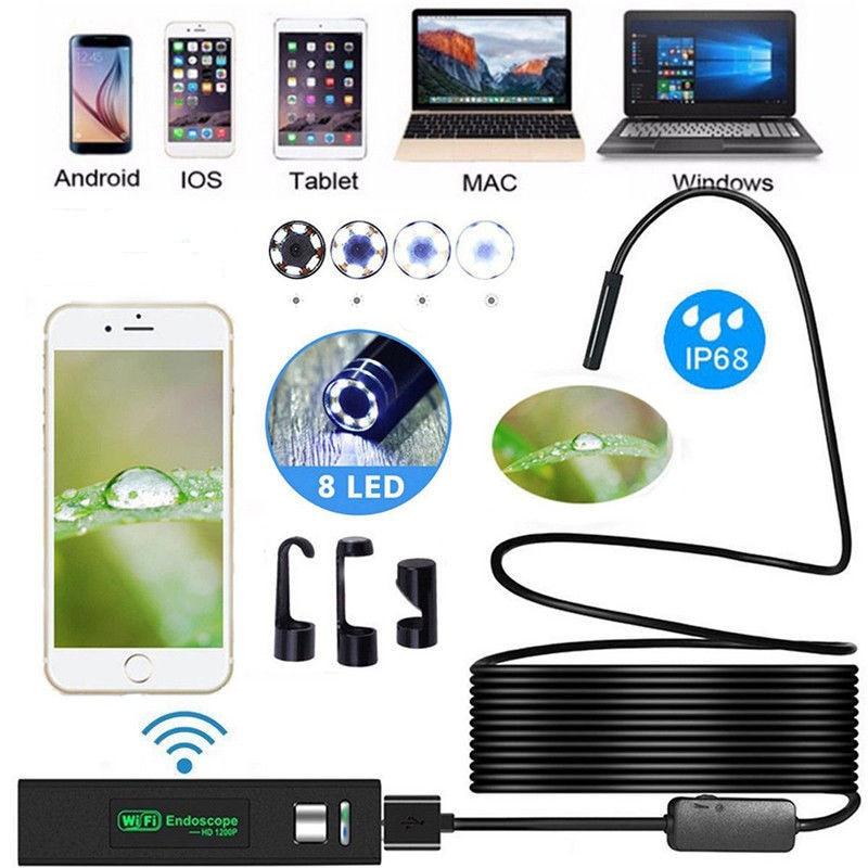 1200P Wireless WIFI Endoscope Camera USB Borescope For Iphone Android IOS Endoscope Mini Waterproof Camera 8MM 2M 5M 10M Hard