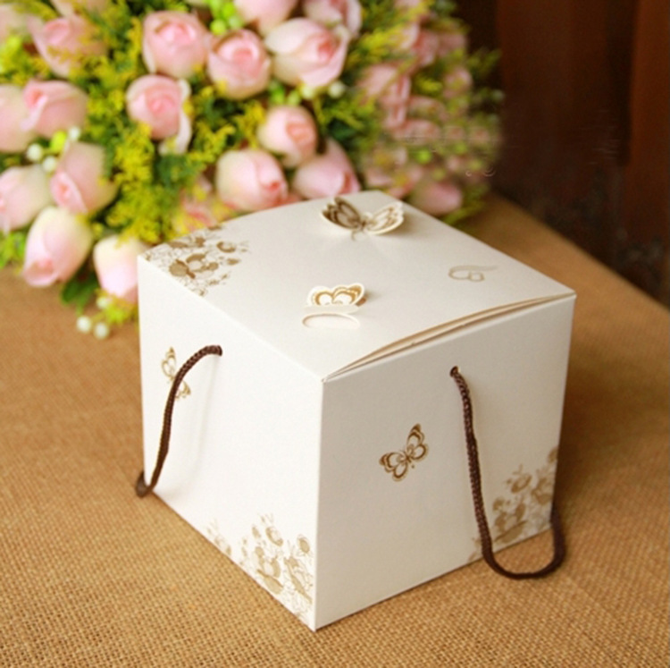 12*10*12cm 10 Pcs Flower Cake Box With Handle Butter White Kraft Design Gift Boxes Packaging Food Baby Shower Birthday Packing