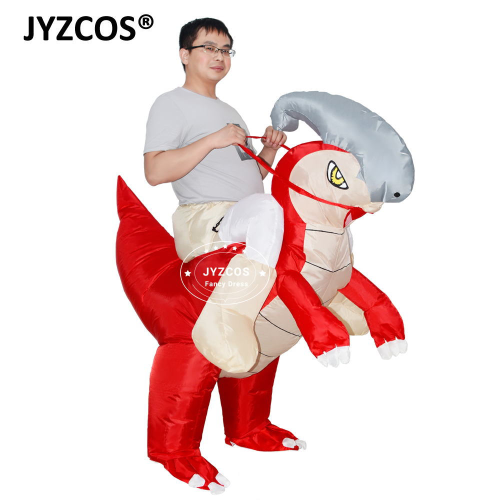 JYZCOS Adult Parasaurolophus Dinosaur Inflatable Costume Halloween Men Cosplay Animal Mascot