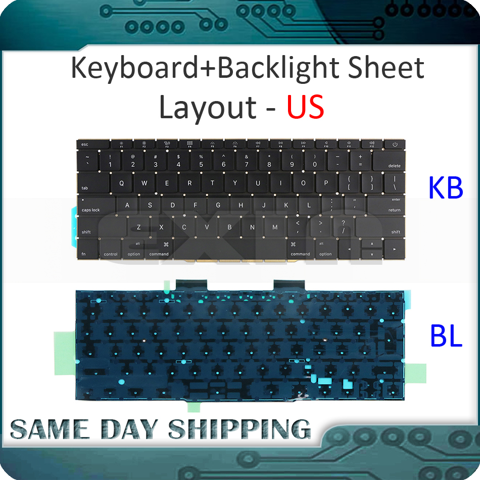 New Laptop A1708 US Layout Keyboard with Backlight Backlit for Macbook Retina Pro 13 A1708 US USA English Keyboard 2016 2017 laptop parts for lenovo yoga 2 13 yoga2 13 black palmrest with backlit sweden sw1 keyboard 90205189