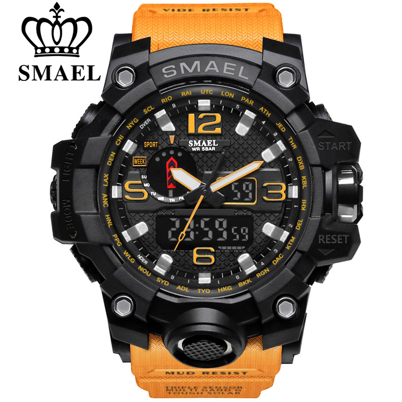 SMAEL Brand Men Sport Watch Dual Display Analog Digital LED Electronic Quartz-Watches Man Waterproof Swimming Wrist Watches Male smael 1708b