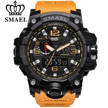 Smael marque hommes sport montre double affichage analogique numérique led électronique à quartz-montres homme étanche de natation montres mâle