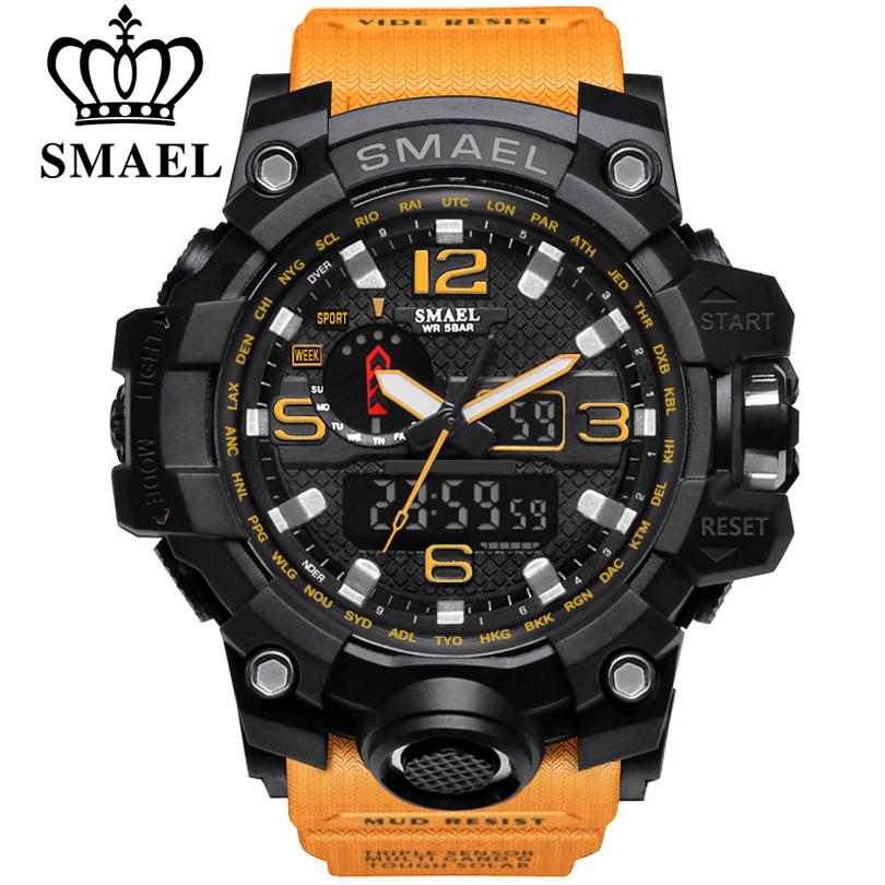 Prix pour Smael marque hommes sport montre double affichage analogique numérique led électronique à quartz-montres homme étanche de natation montres mâle