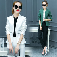 Work Fashion Pant Suits 2 Piece Set for Women Single Breasted Blazer Jacket & Trouser Office Lady Suit 2018 Slim terno feminino