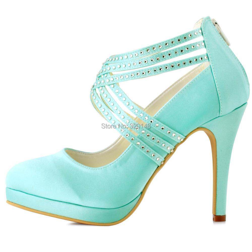 Women High Heel Pumps Cross Strap Platform Satin Bridesmaid Lady ...