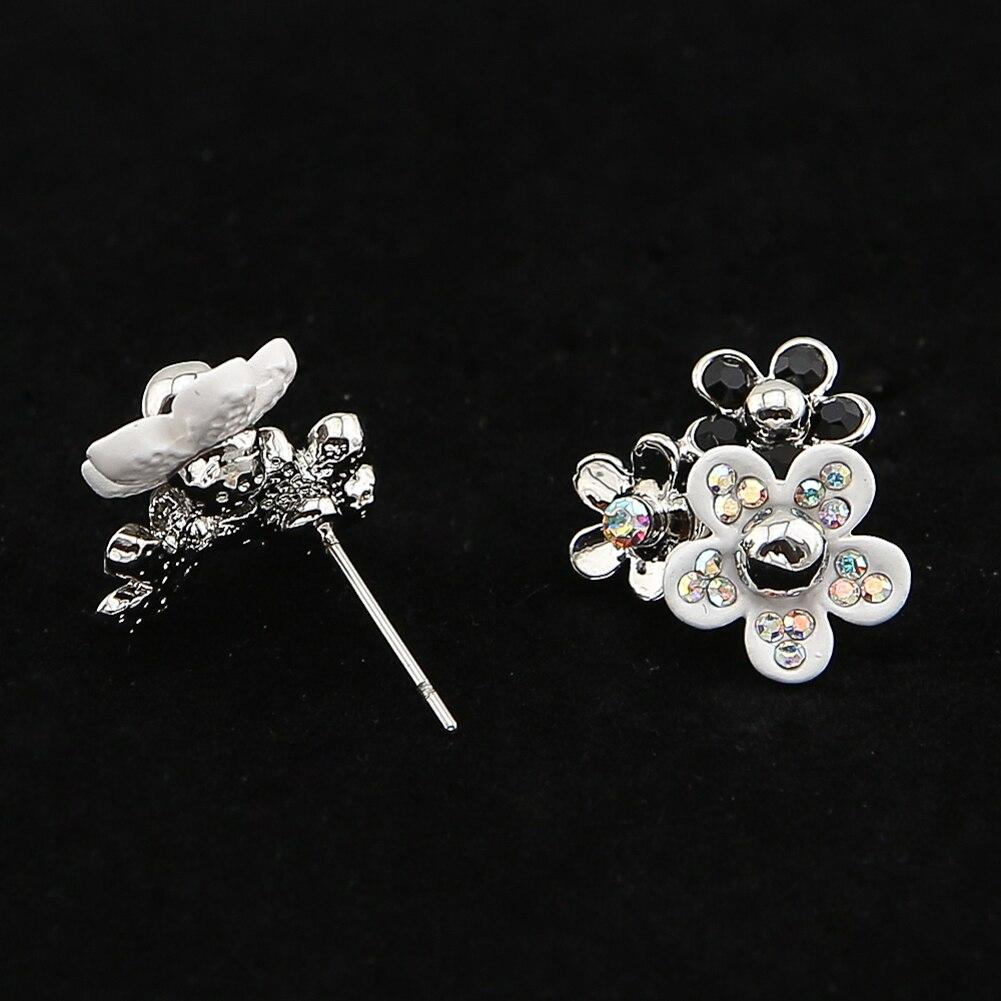 TrinketSea Women Trendy Stacking <font><b>Flower</b></font> Stud Earrings Ear Costume Fashion Jewelry New Rhinestone Glass Cubic Zirconia Bead Charm