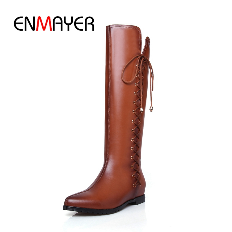 ENMAYER New Style women pointed toe lace-up flat with knee high boots lady solid cross-tied boots ZYL746 british style women s knee high boots with solid color and ruffle design