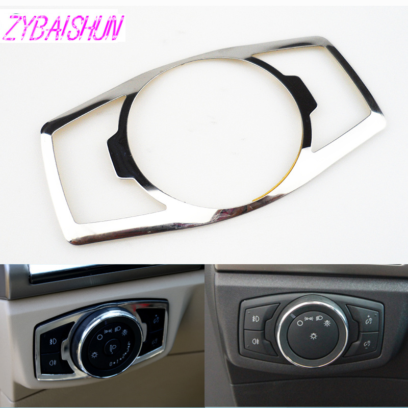 Stainless Steel Headlamp Switch Cover Sticker For Ford Mustang 2015 Focus 3 4 MK3 MK4 Mondeo Kuga Edge 2009 + Auto Accessories