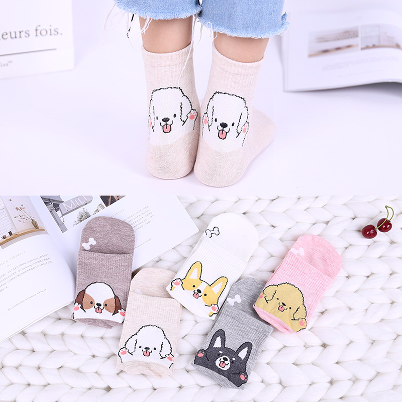 Jeseca New Cartoon Sock Cute Dog Animal Jacquard Socks Cotton Lovely Female Funny Novelty Creative Kawaii Autumn Winter Sock