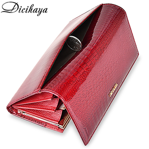 Image 5 - DICIHAYA Genuine Leather Women Wallets Multifunction Purse Red Card Holder Long Wallet Clutch Bag Ladies Patent Leather Purse
