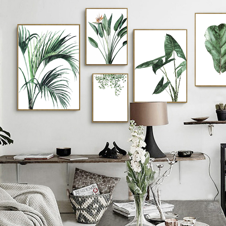 50 Splendid Scandinavian Home Office And Workspace Designs: Aliexpress.com : Buy Watercolor Green Plants Leaf Canvas