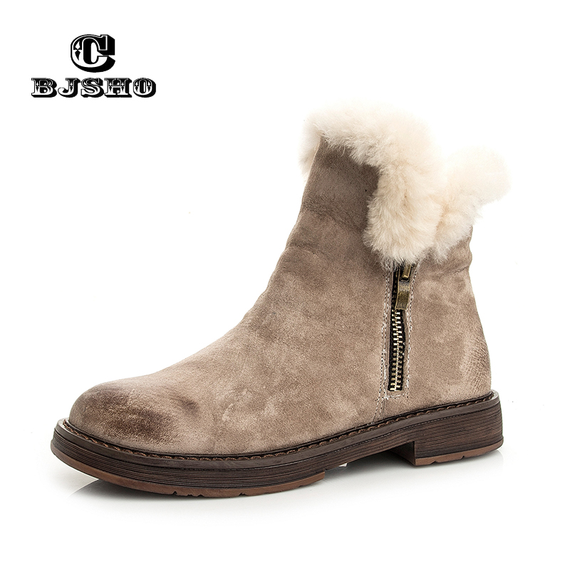 CBJSHO Fashion Winter Snow Boots Female Plush Fur Ankle Boots Flock Flat Zip Keep Warm Ladies Work Shoes Zapatos Mujer Botas 2016 rhinestone sheepskin women snow boots with fur flat platform ankle winter boots ladies australia boots bottine femme botas
