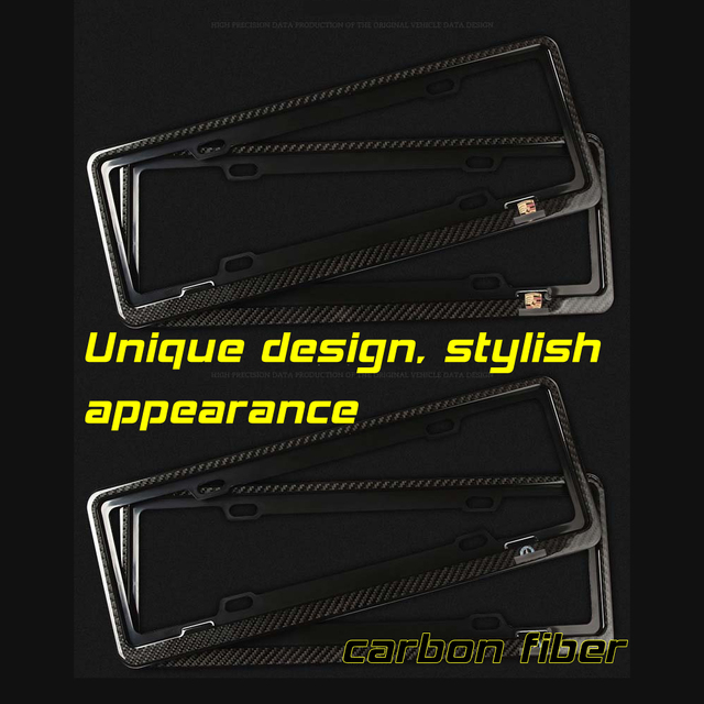 Nice look For Mer-cedes Be-nz decorative protection A set of two black carbon fiber license plate frame
