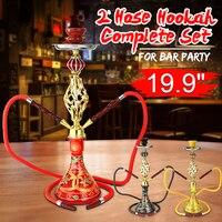 50.5cm Premium 2 Hose Hookah Shisha Pipes Complete Set Leather Hose Ceramic Bowl Metal Charcoal Narguile Accessories