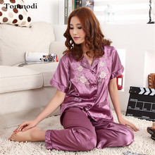Women Pajamas Silk Satin Pyjamas Short sleeved trousers Stitch Pijama Mujer Women Lounge Pajama Sets Plus Size 3XL