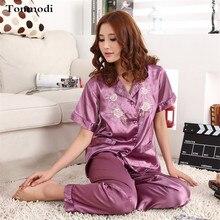 Women Pajamas Silk Satin Pyjamas Short sleeved trousers Stitch Pijama Mujer Women Lounge Pajama Sets Plus Size 3XL