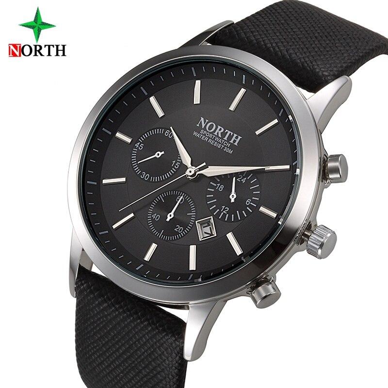 Nord Marke Mode Schwarz Herrenuhr Klassische Casual Kalender Quarz Mann Business Casual Sport Uhr Einzigartige männer Geschenk Armbanduhr