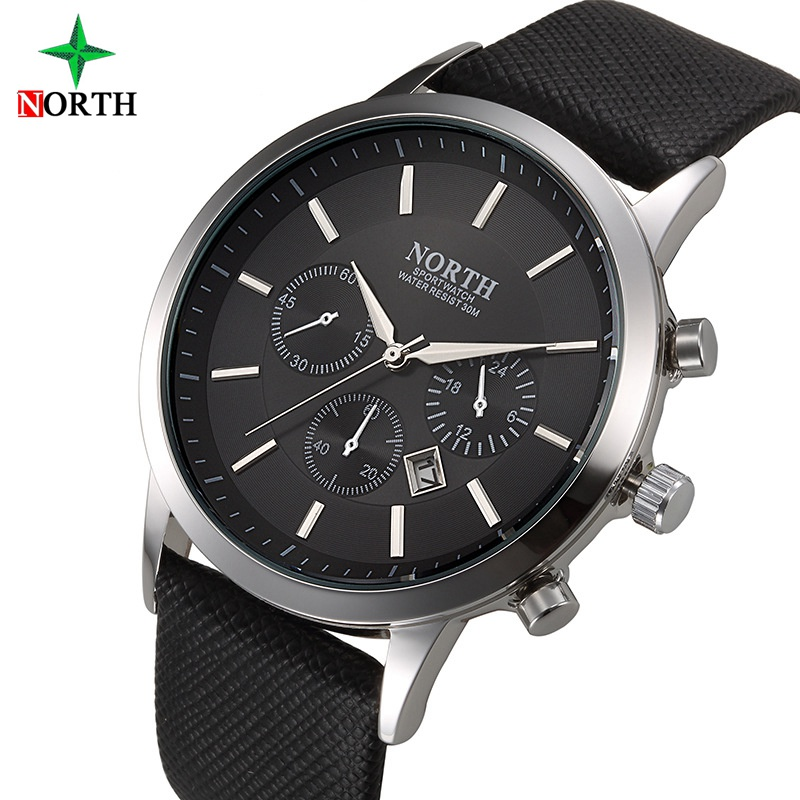 North Brand Fashion Black Men Watch Classic Casual Kalender Quartz Man Business Casual Sport Klocka Unika Mäns Gåva Armbandsur