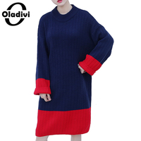 Oladivi Oversized Plus Size Woman Apparel Ladies Casual Loose Color Block Sweater Dress Long Pullover Tops
