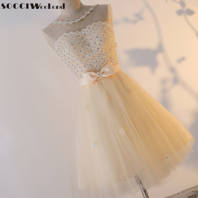 Champagne Tulle Lace Short Sleeveless Bridemade Dress A-Line Formal Wedding Party Dresses Homecoming Gowns