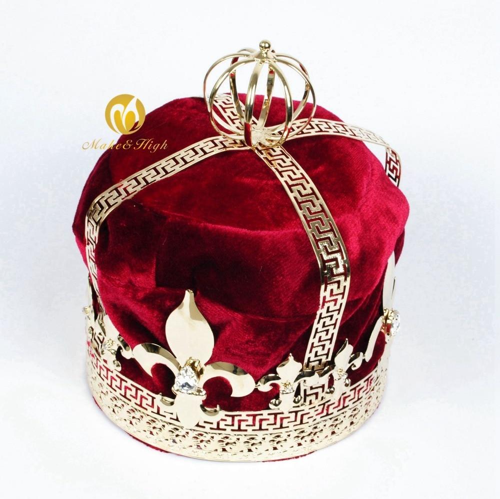 Red Velvet King Tiara Diadem Large 9 Crowns Handmade Austrian Rhinestone Hair Accessories Parade Pageant Party