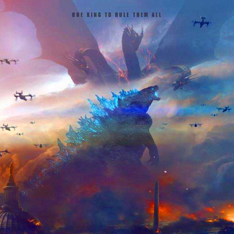 Us 1 55 35 Off Lzn Movie Poster Painting Godzilla King Of The Monsters Picture Artwork Canvas Painting For Home Decor Wall Art Fantasy Art In