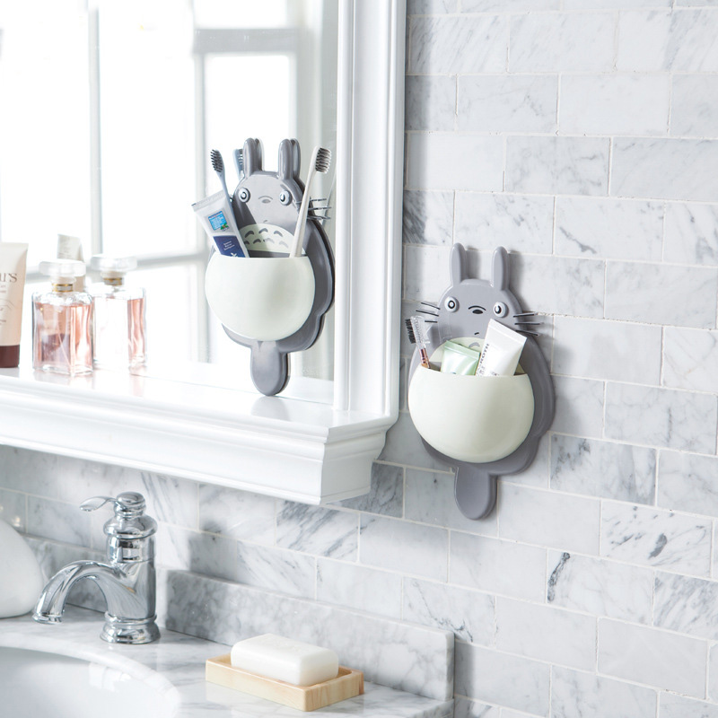 1 pcs High Quality Toothbrush Holder Cute Totoro Toothbrush Wall Mount Holder Sucker Suction Organizer Home Bathroom Accessories image