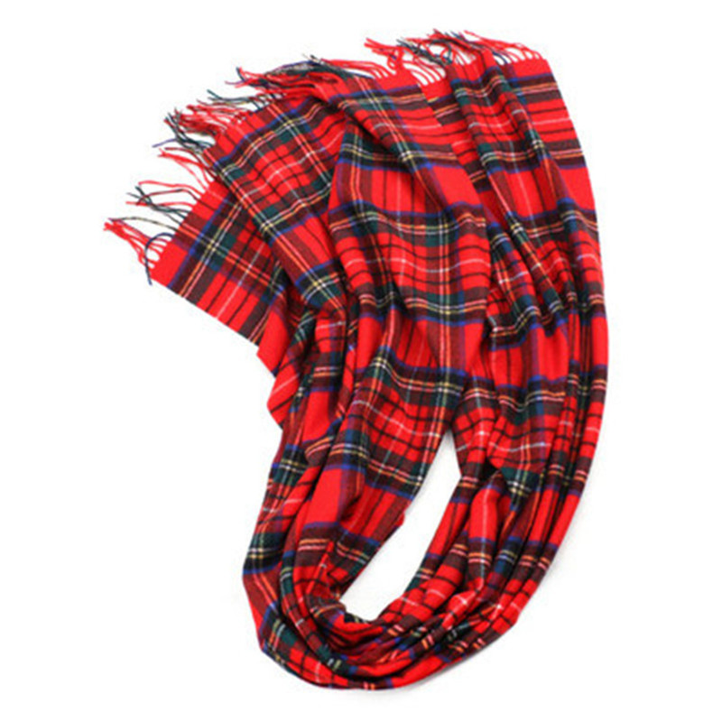 new arrival100%wool women fashion Scotland style plaid thick scarfs long tassel 75x200cm red color