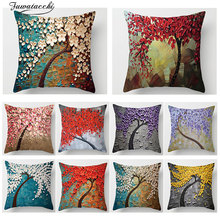Fuwatacchi 3D Vintage Flower Tree Print Throw pillows Cover Polyester Cherry Blossom Sofa Home Decor Accessories Pillow Case