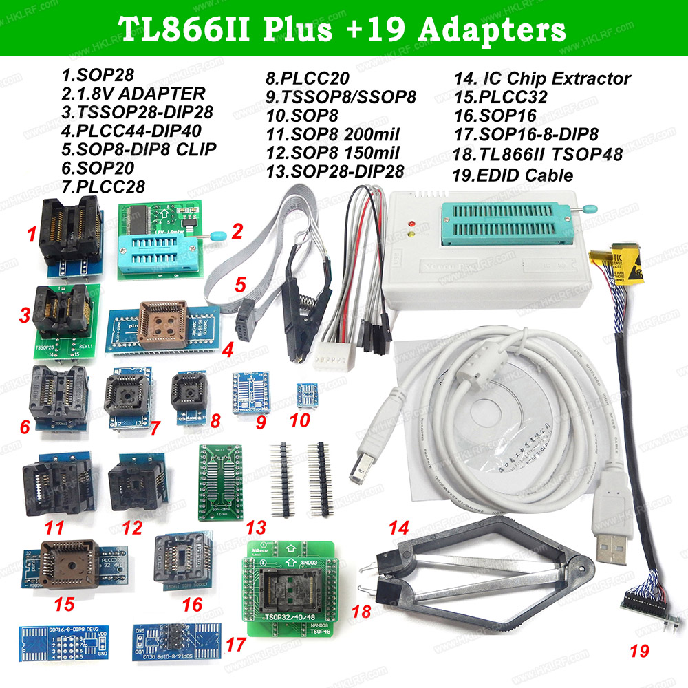 Original New TL866II PLUS Universal Minipro USB Programmer 19 Items IC Adapters Better Than TL866A TL866CS