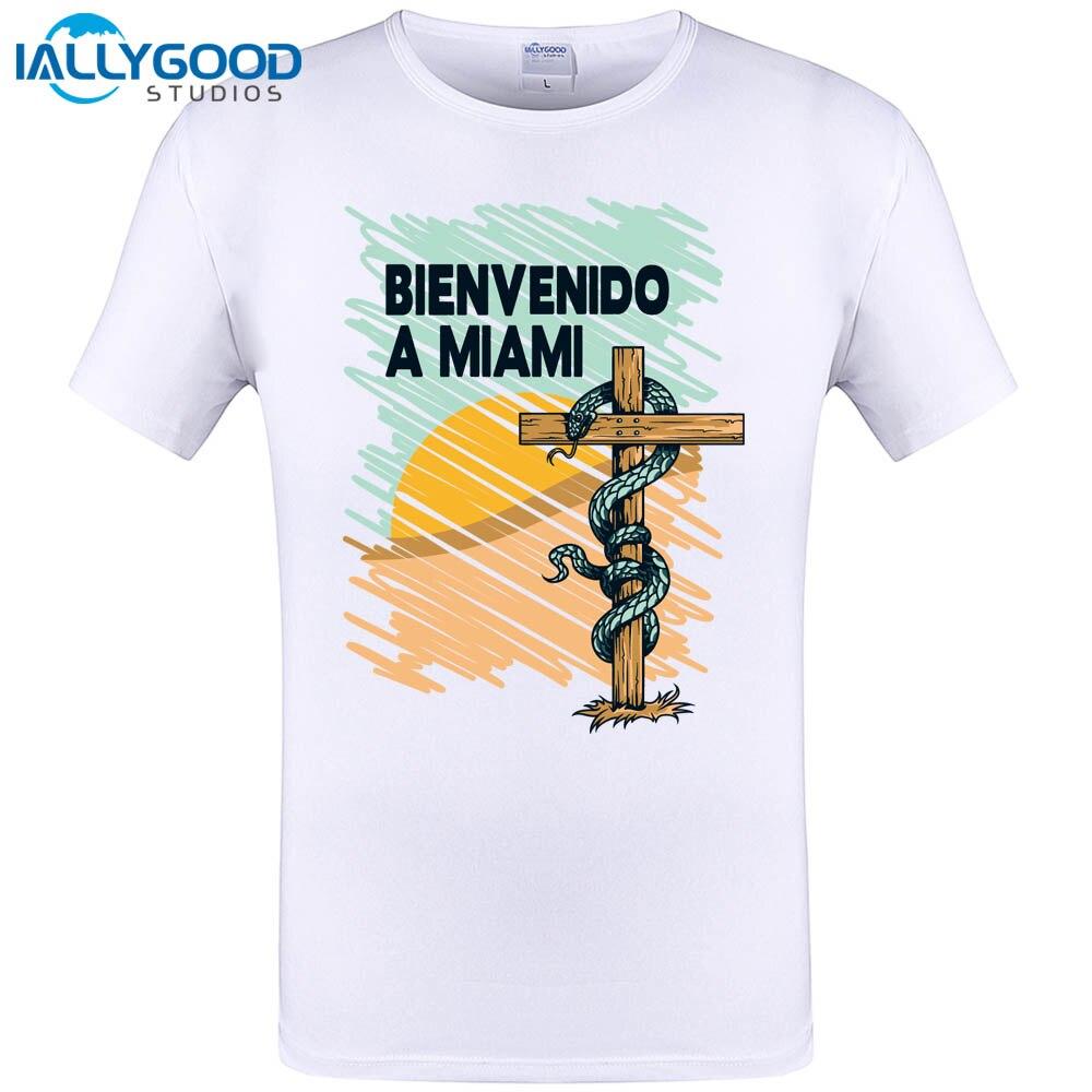 Design your own t-shirt miami - Bienvenido A Miami T Shirt Design Cross Desert Snake T Shirt Printed Top Tee Cool