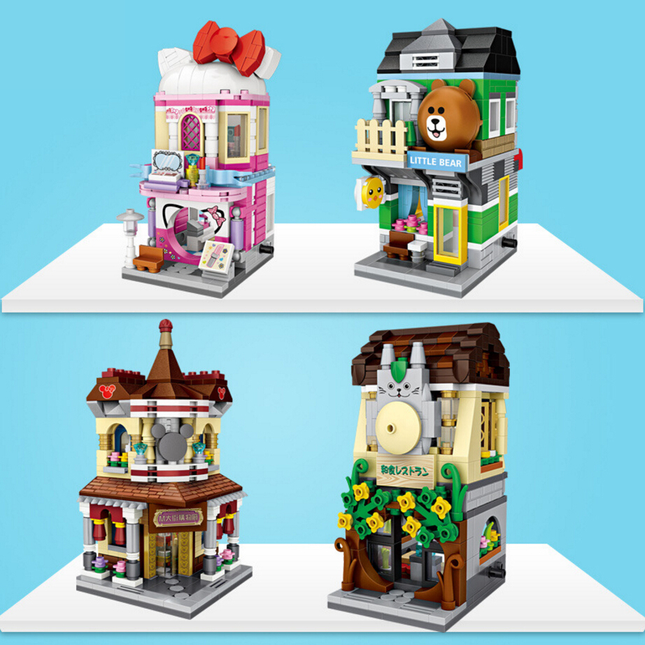 LOZ street view mini diamond building block Make-up shop Little bear store Japanese Restaurant Galleria nanoblock bricks toys loz 9402 transformation optimusprime diamond bricks minifigures building block best legoelieds toys