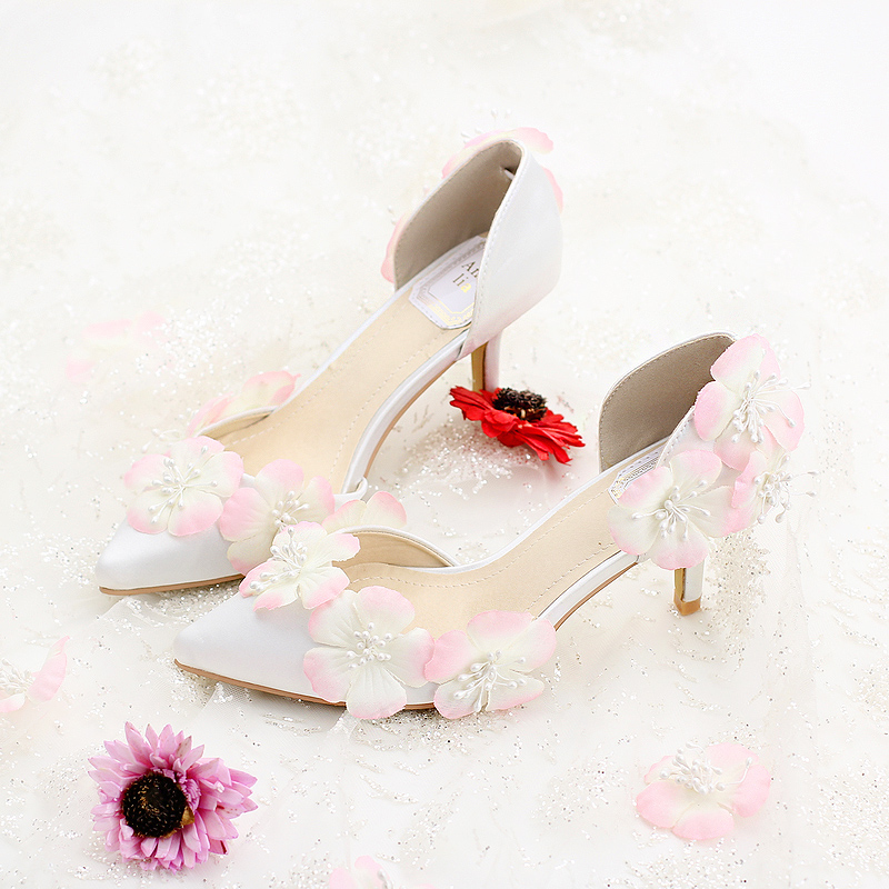 White silks and satins bridal shoes high heeled shoes pink flower thin heels wedding shoes foot
